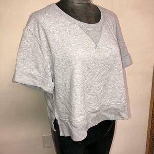 AIKO Cuff Sleeve Cropped Boyfriend Sweatshirt